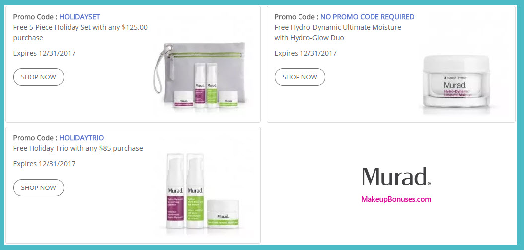 Receive a free 5-pc gift with your $125 Murad purchase