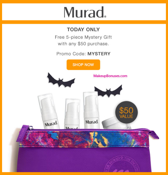 Receive a free 5-pc gift with your $50 Murad purchase