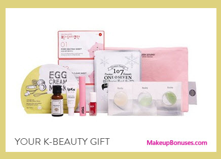 Receive a free 11-pc gift with your $65 on K-Beauty purchase