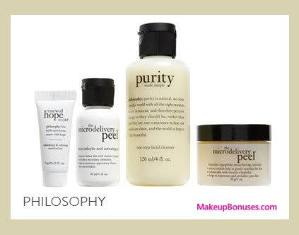 Receive a free 4-pc gift with your $50 Philosophy purchase
