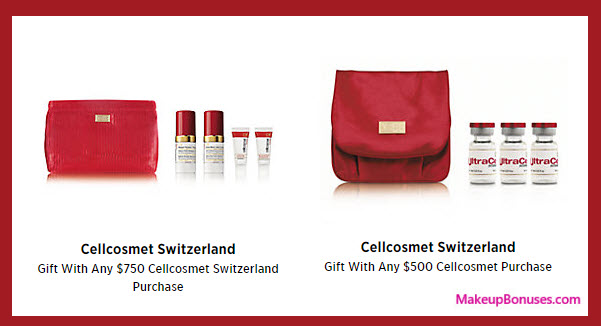 Receive a free 4-pc gift with your $500 Cellcosmet Switzerland purchase