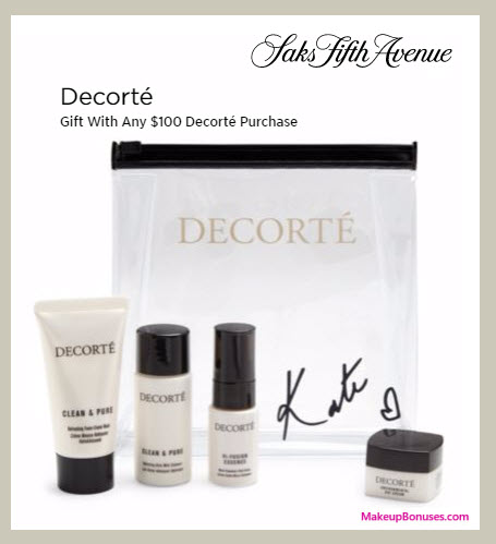Receive a free 4-pc gift with your $100 Decorté purchase