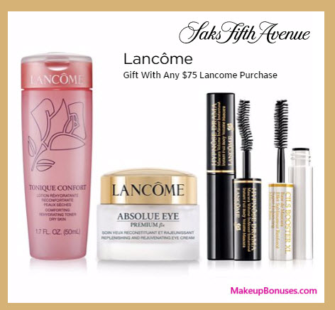 Receive a free 4-pc gift with your $75 Lancôme purchase