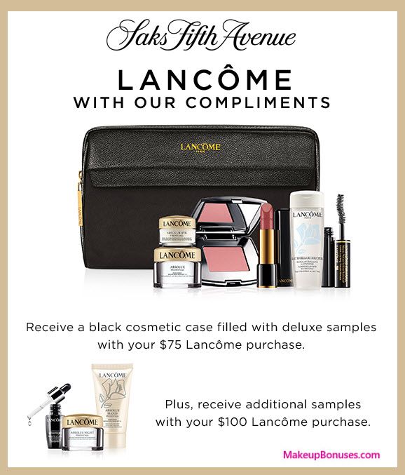 Receive a free 7-pc gift with your $75 Lancôme purchase