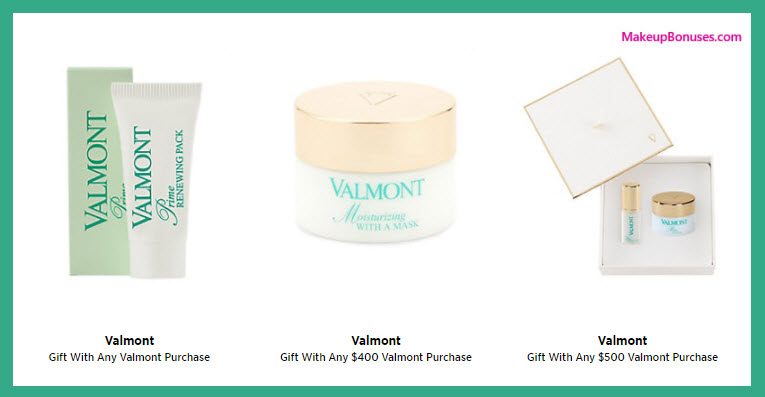 Receive a free 4-pc gift with your $500 Valmont purchase