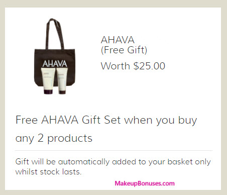Receive a free 3-pc gift with your 2+ AHAVA product purchase