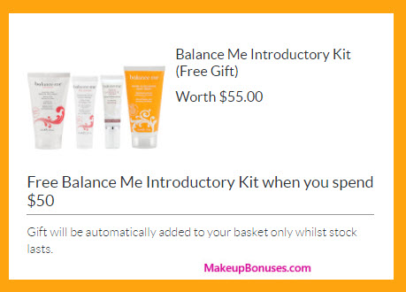 Receive a free 4-pc gift with your $50 Balance Me purchase