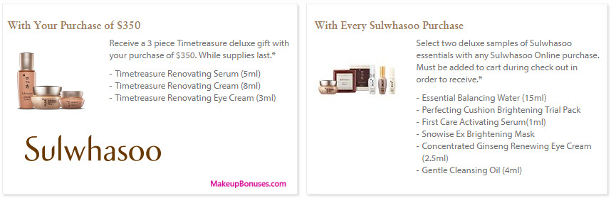 Receive a free 3-pc gift with your $350 Sulwhasoo purchase