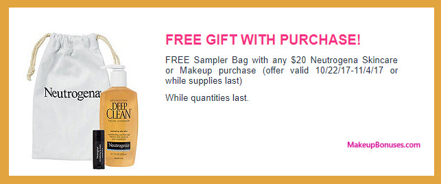 Receive a free 3-pc gift with your $20 Neutrogena purchase