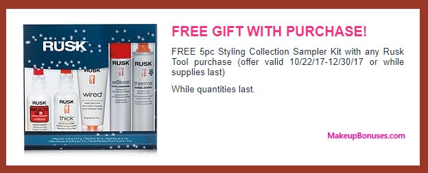Receive a free 5-pc gift with your Rusk Tool purchase