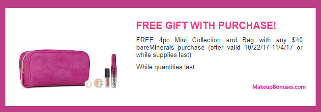 Receive a free 4-pc gift with your $40 bareMinerals purchase