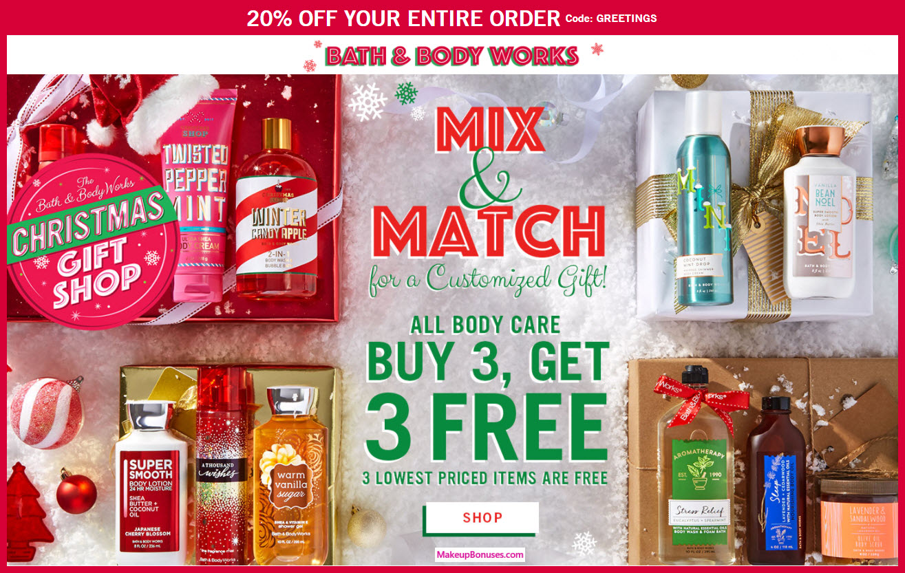 Bath Body Works 20 Discount B3g3 Makeup Bonuses Receive A Free 3 Pc Gift With Your Care Products Purchase