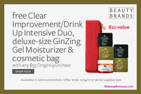 Receive a free 4-pc gift with your $55 Origins purchase