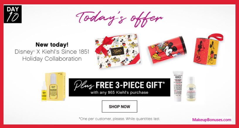 Receive a free 3-pc gift with your $65 Kiehl's purchase