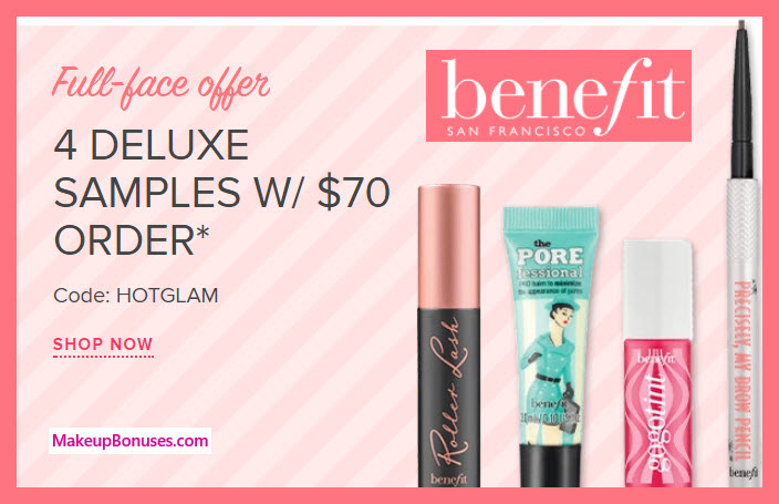 Receive a free 4-pc gift with your $70 Benefit Cosmetics purchase