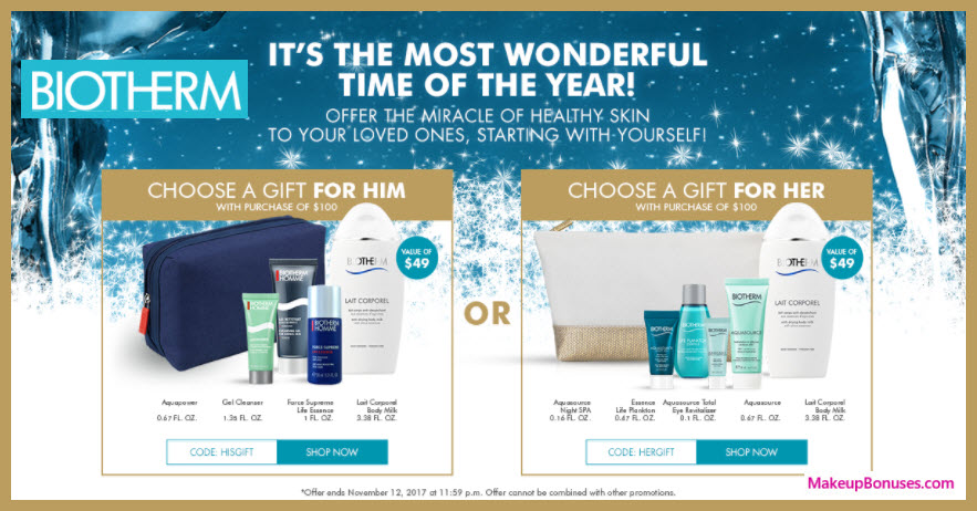 Receive your choice of 5-pc gift with your $100 Biotherm purchase