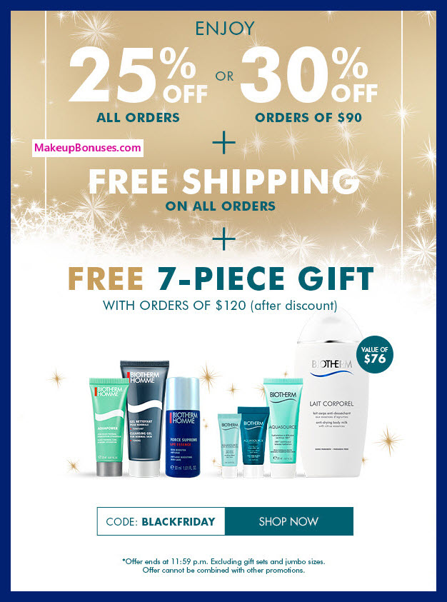 Receive a free 7-pc gift with your $120 Biotherm purchase