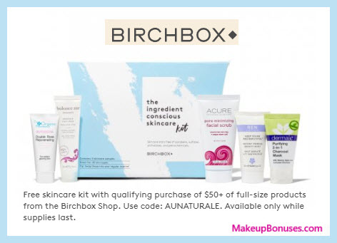 Receive a free 5-pc gift with your $50+ of full-size products purchase