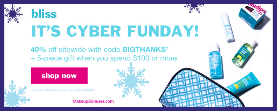 Receive a free 5-pc gift with your $100 Bliss purchase