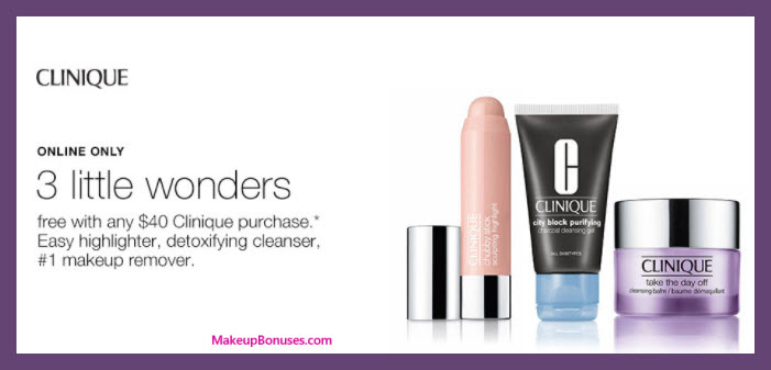 Receive a free 3-pc gift with your $40 Clinique purchase