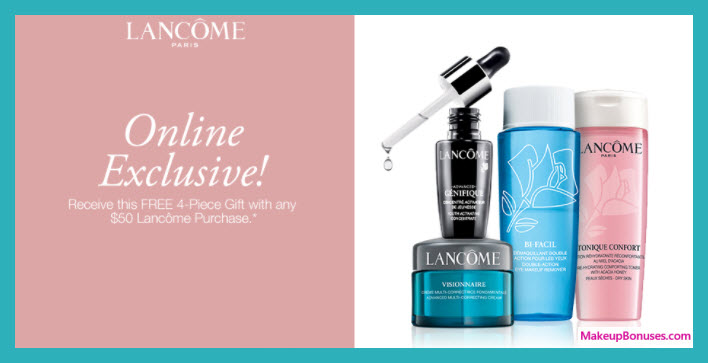 Receive a free 4-pc gift with your $50 Lancôme purchase