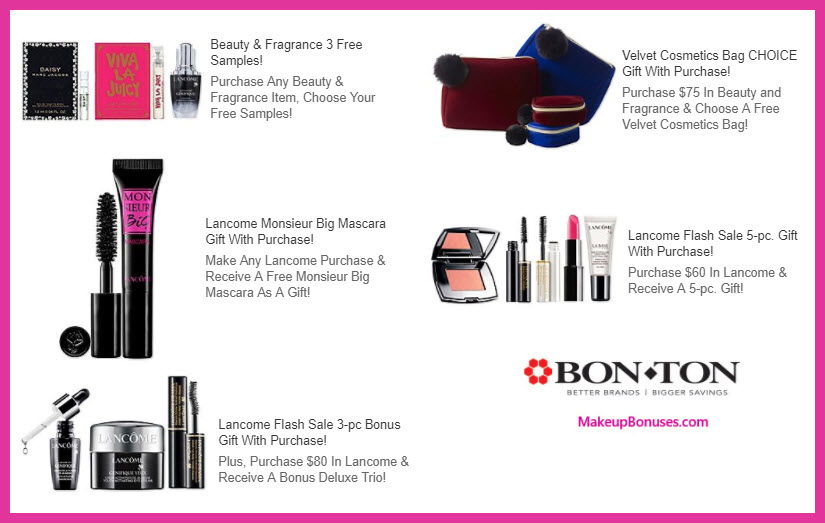 Receive a free 5-pc gift with your $60 Lancôme purchase