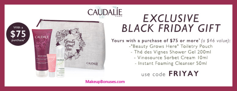Receive a free 4-pc gift with your $75 Caudalie purchase