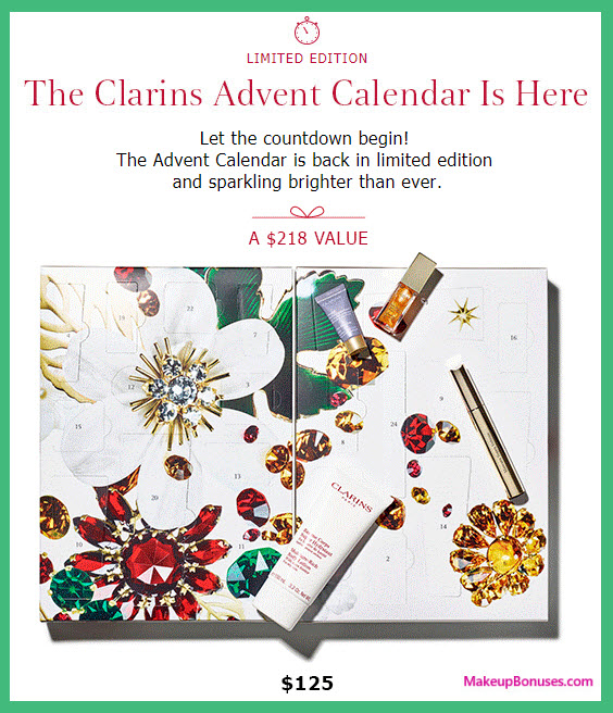 Clarins Advent Calendar- MakeupBonuses.com