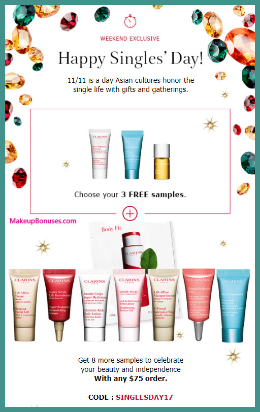 Receive a free 11-pc gift with your $75 Clarins purchase