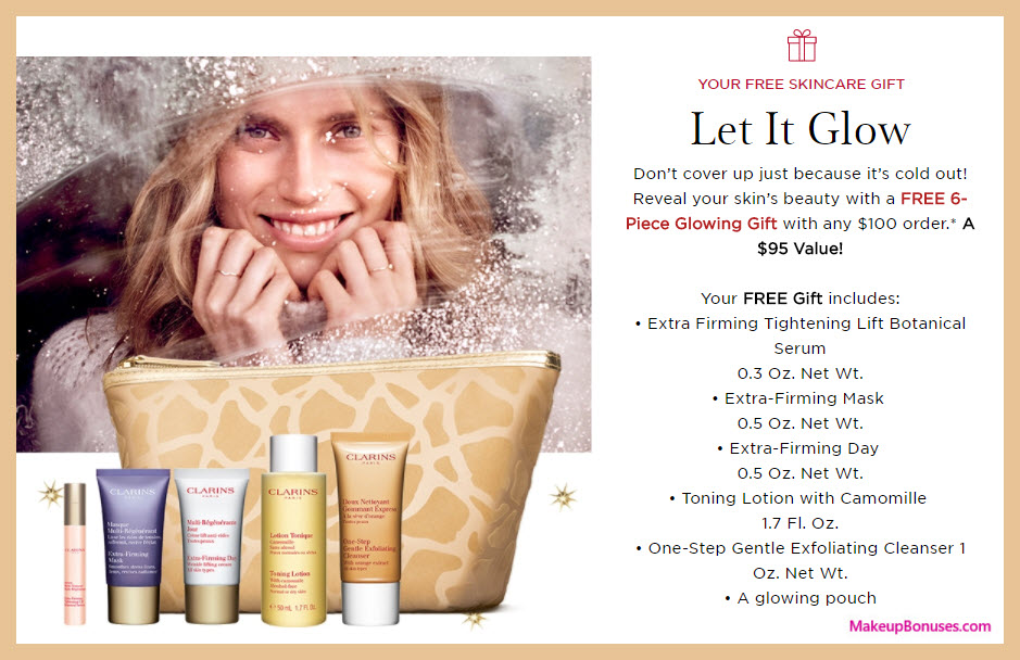 Receive a free 6-pc gift with your $100 Clarins purchase