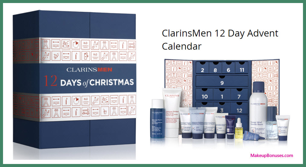 ClarinsMen 12 Day Advent Calendar- MakeupBonuses.com
