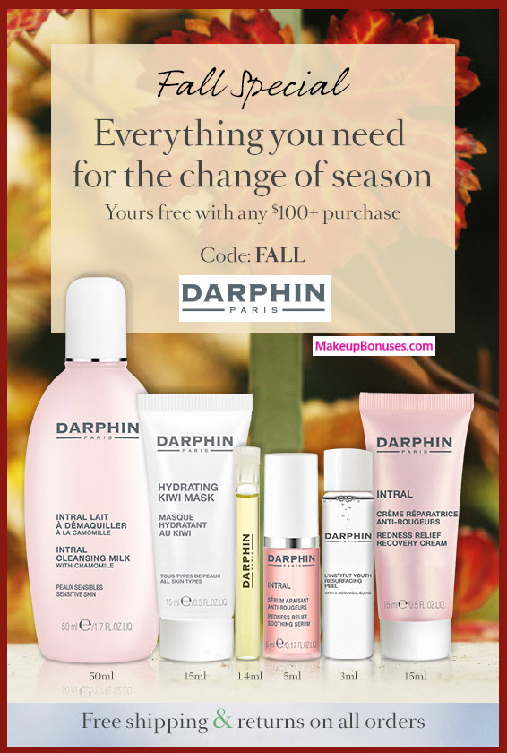 Receive a free 6-pc gift with your $100 Darphin purchase