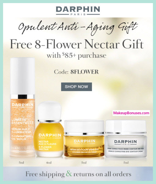 Coupon Alerts. Never miss a great DARPHIN coupon and get our best coupons every week! About DARPHIN. DARPHIN Coupons & Promo Codes. Sale Promo Code Enjoy A 4-piece Anti-Wrinkle Gift With $85+ Order. This coupon expired on 09/26/ CDT.