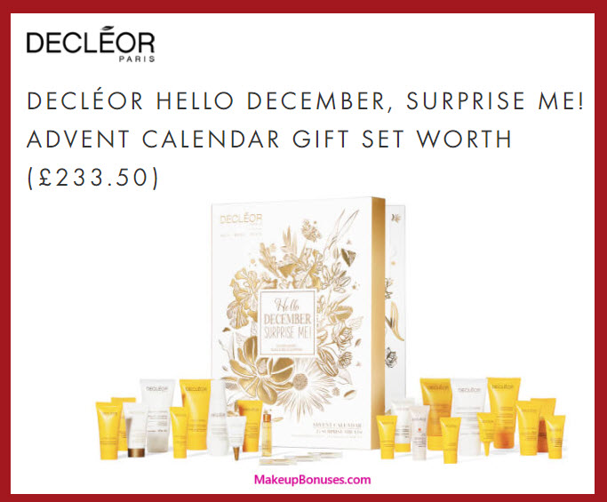 DECLÉOR HELLO DECEMBER, SURPRISE ME! ADVENT CALENDAR- MakeupBonuses.com