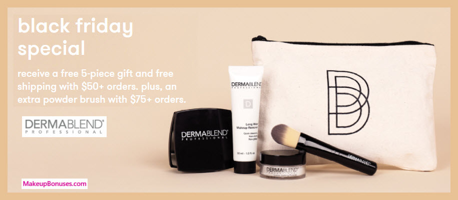 Receive a free 5-pc gift with your $50 Dermablend purchase