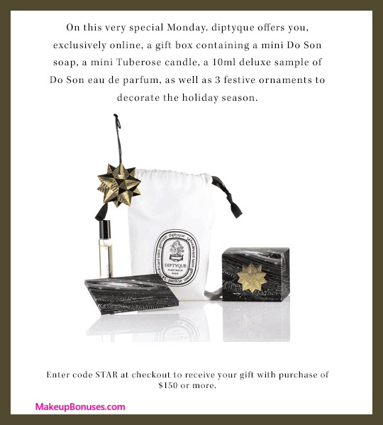 Receive a free 6-pc gift with your $150 Diptyque purchase
