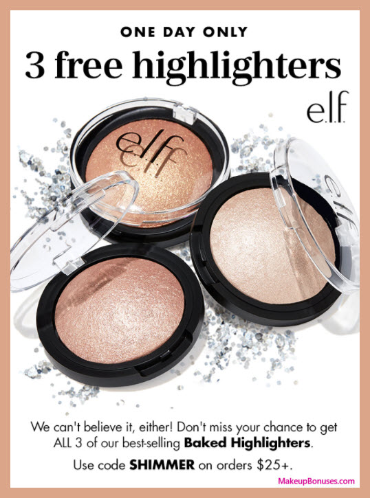 Receive a free 3-pc gift with your $25 ELF Cosmetics purchase