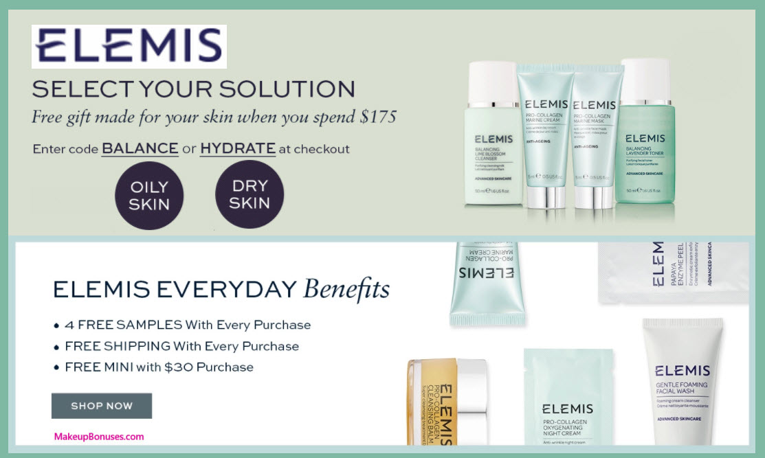 Receive your choice of 4-pc gift with your $175 Elemis purchase