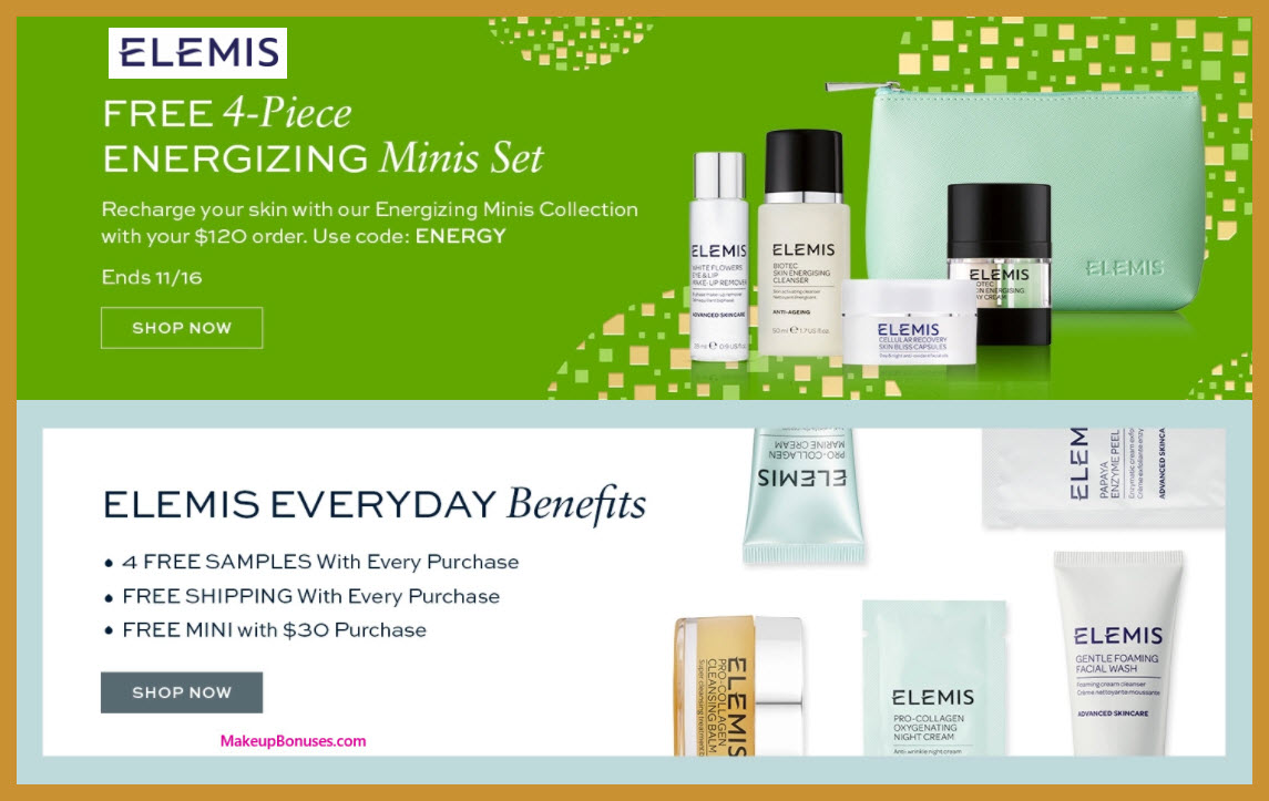 Receive a free 5-pc gift with your $120 Elemis purchase