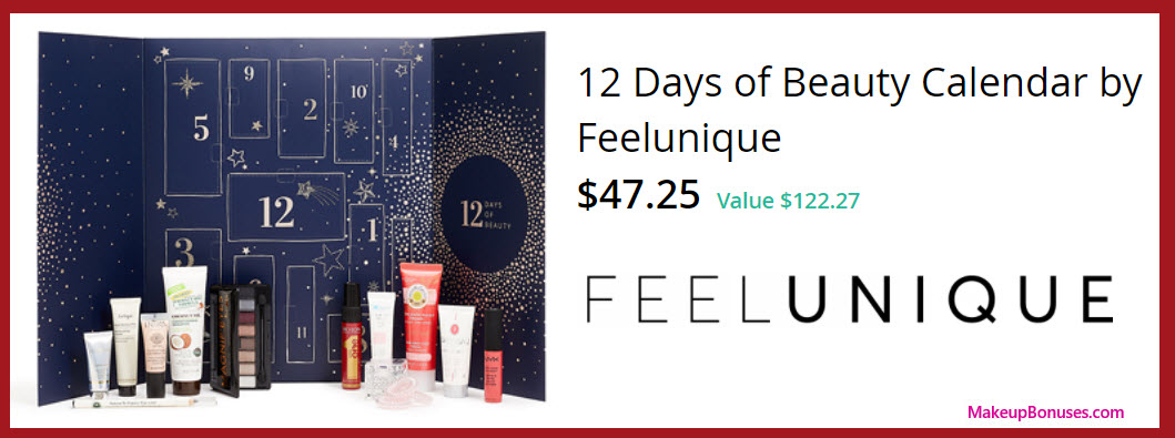 12 Days of Beauty Calendar by Feelunique- MakeupBonuses.com