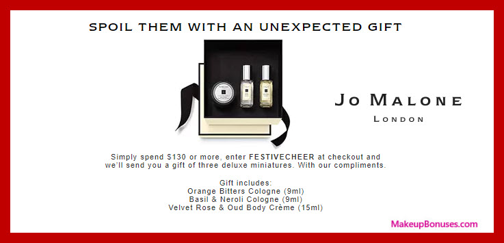 Receive a free 3-pc gift with your $130 Jo Malone purchase