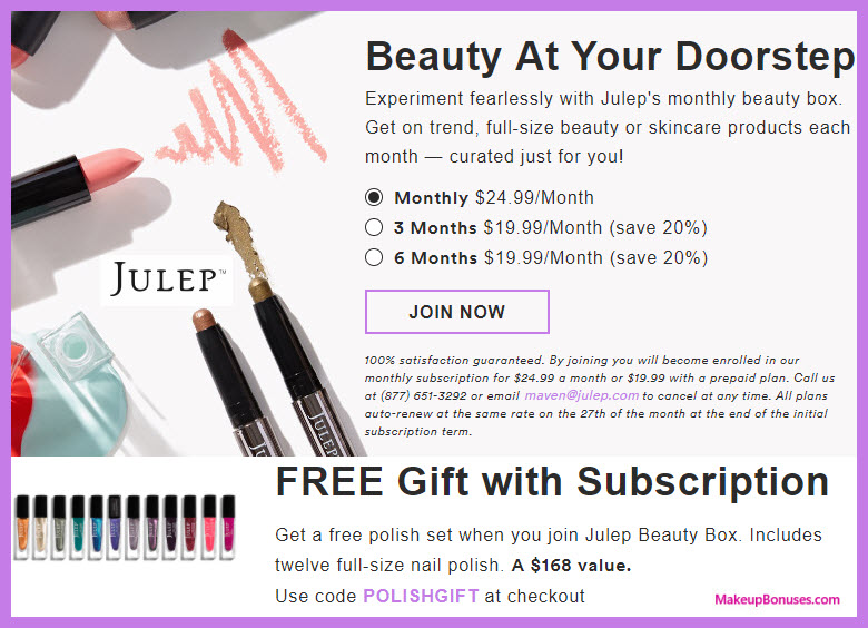 Receive a free 12-pc gift with your Julep Maven subscription purchase
