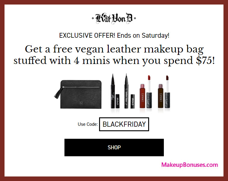 Receive a free 5-pc gift with your $75 Kat Von D Beauty purchase