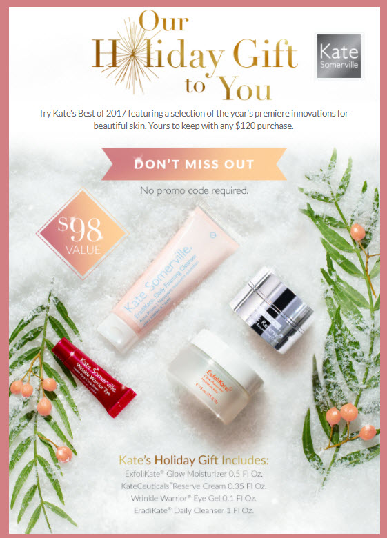 Receive a free 4-pc gift with your $120 Kate Somerville purchase