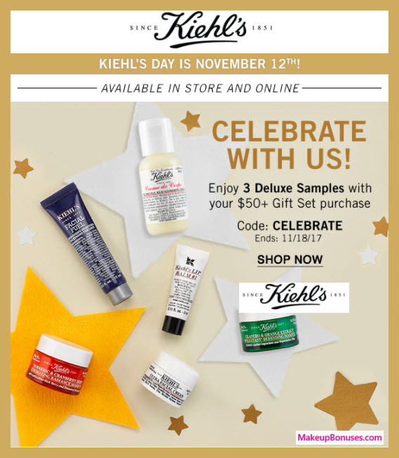 Receive your choice of 3-pc gift with your $50 Kiehl's purchase