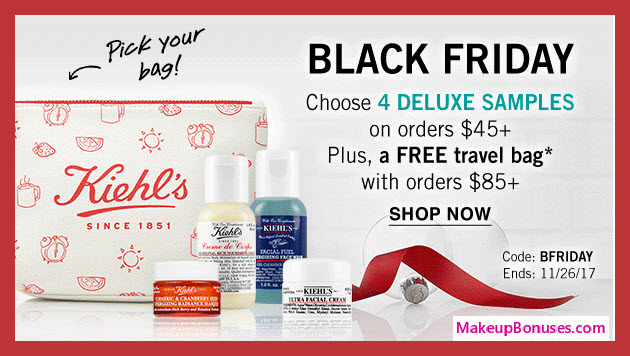 Receive a free 4-pc gift with your $45 Kiehl's purchase