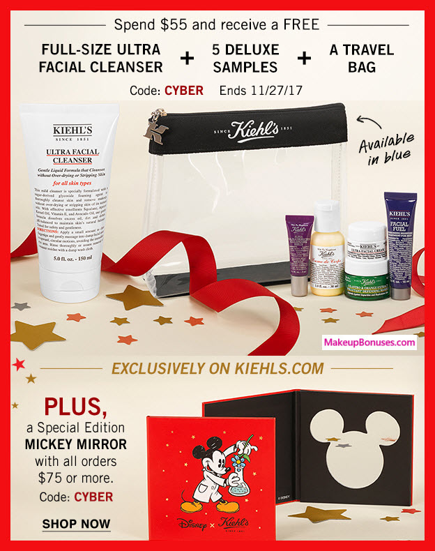 Receive a free 7-pc gift with your $55 Kiehl's purchase