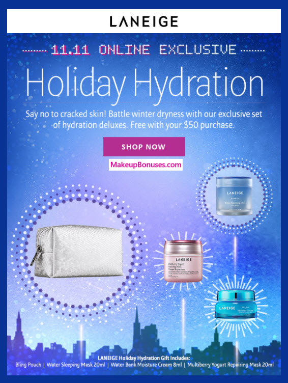 Receive a free 4-pc gift with your $50 LANEIGE purchase