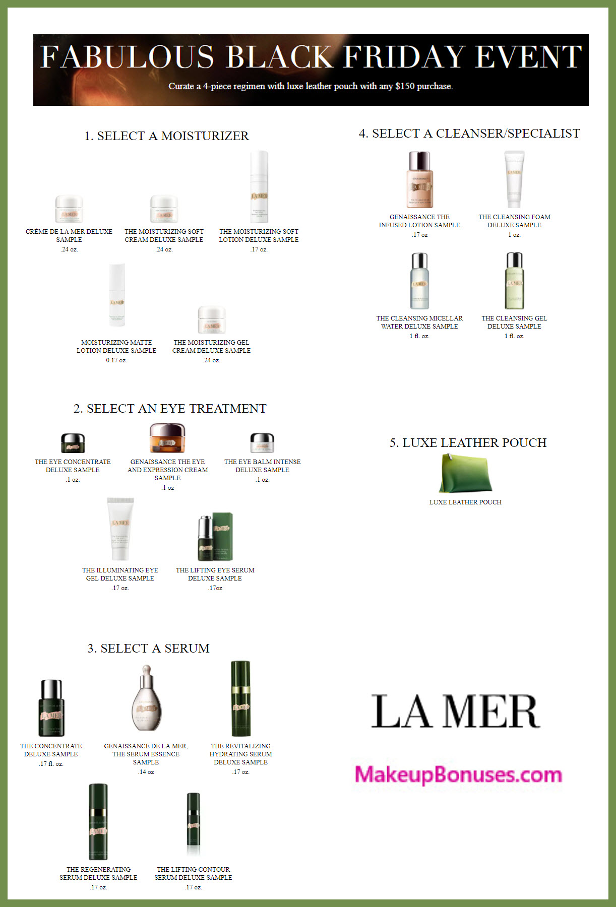Receive your choice of 5-pc gift with your $150 La Mer purchase