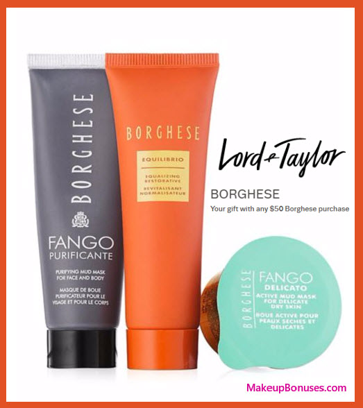 Receive a free 3-pc gift with your $50 Borghese purchase